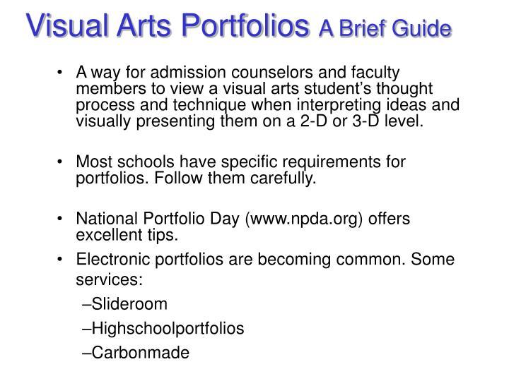 Visual Arts Portfolios