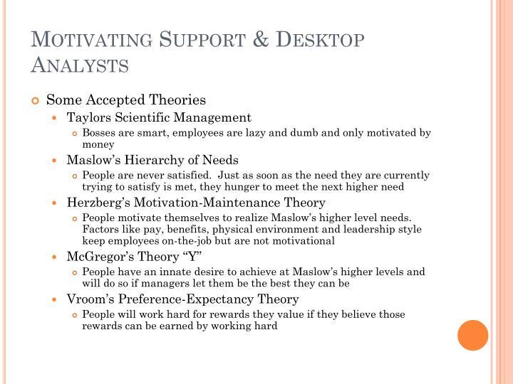 Motivating support desktop analysts