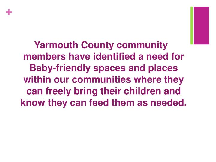 Yarmouth County community members have identified a need for  Baby-friendly spaces and places within our communities where they can freely bring their children and know they can feed them as needed.