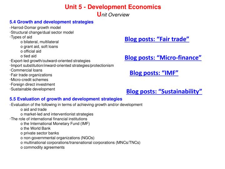 Unit 5 - Development Economics