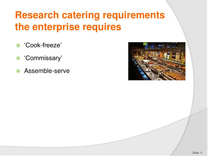 Research catering requirements