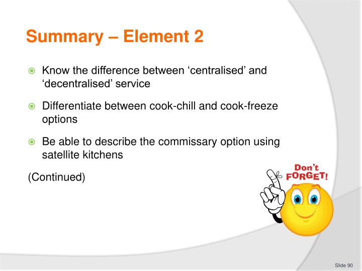 Summary – Element 2