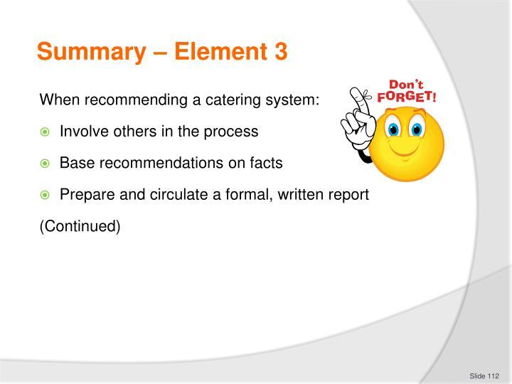 Summary – Element 3