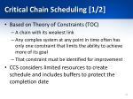 critical chain scheduling 1 2