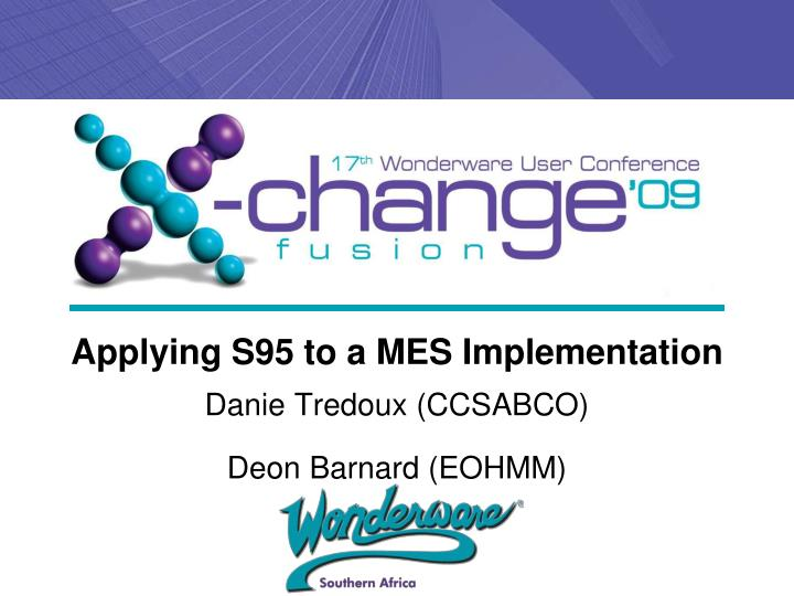 applying s95 to a mes implementation n.