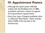 iv appointment powers