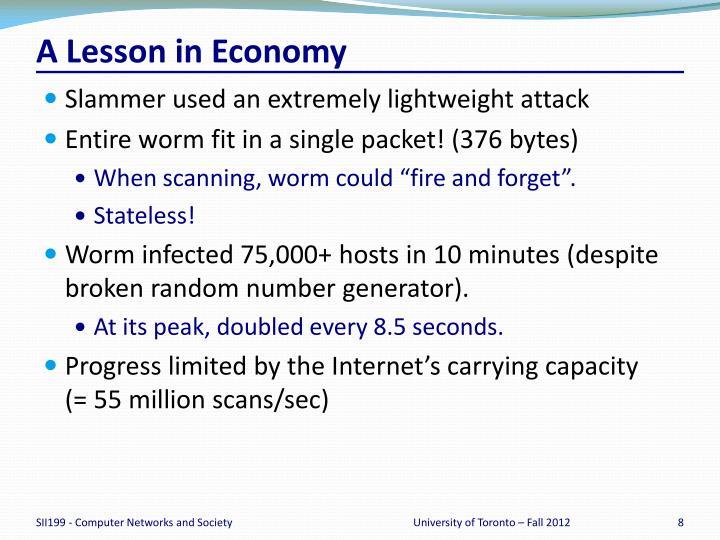A Lesson in Economy