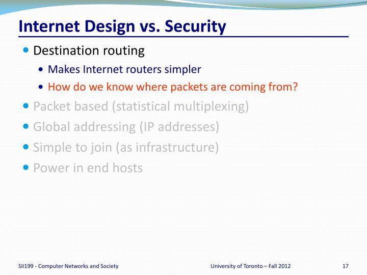 Internet Design vs. Security