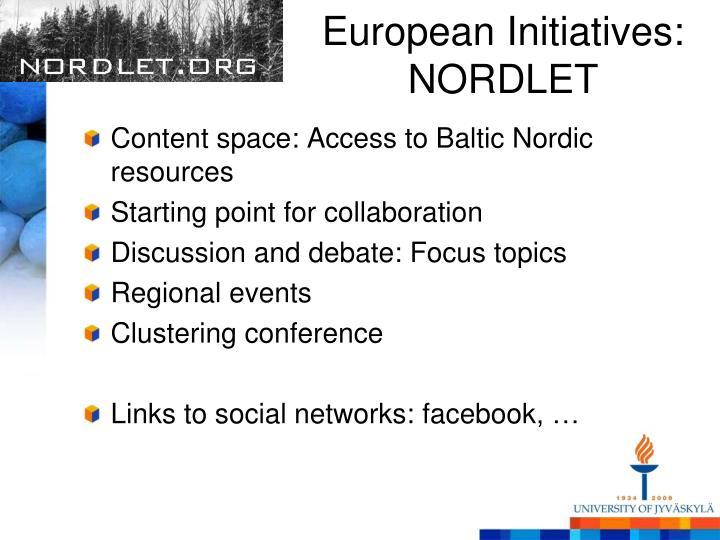European Initiatives: