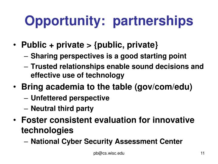 Opportunity:  partnerships