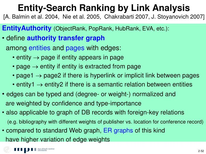Entity-Search Ranking by Link Analysis