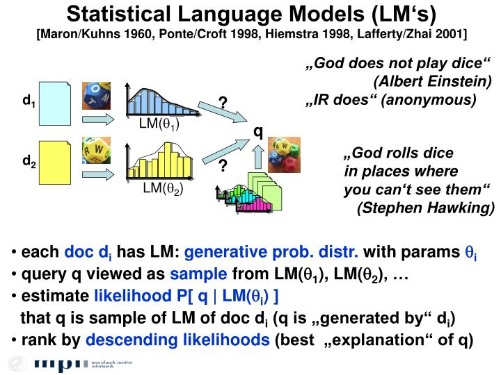 Statistical Language Models (LM's)