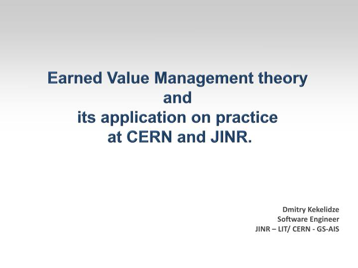 Earned Value Management theory
