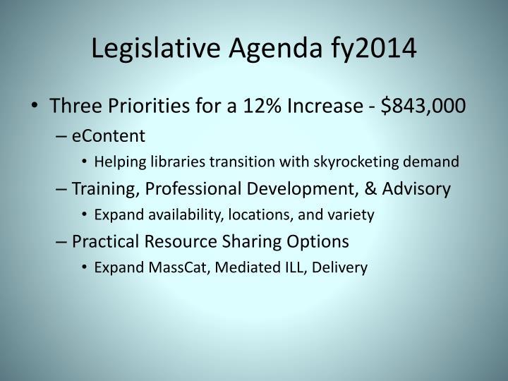 Legislative Agenda fy2014
