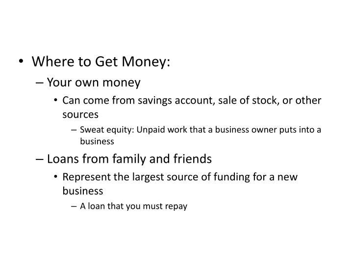 Where to Get Money: