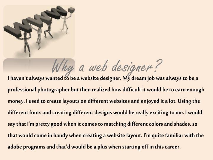 Why a web designer