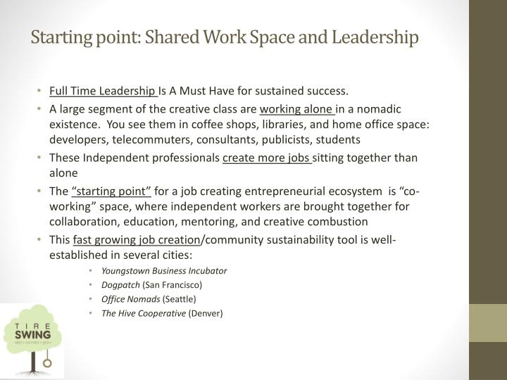Starting point: Shared Work Space and Leadership