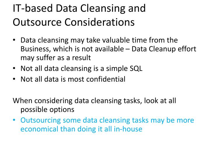 IT-based Data Cleansing and