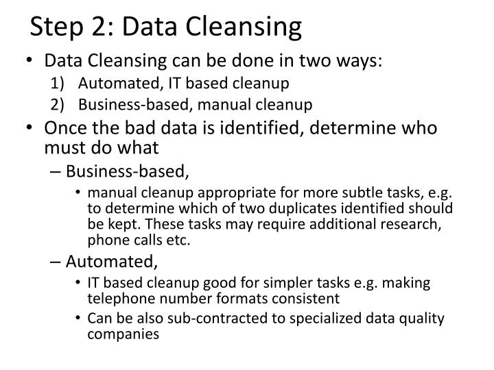 Step 2: Data Cleansing