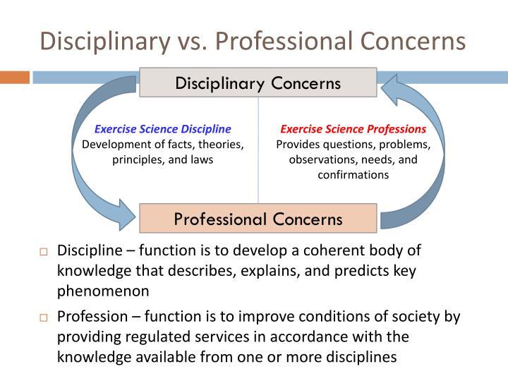 Disciplinary vs. Professional Concerns