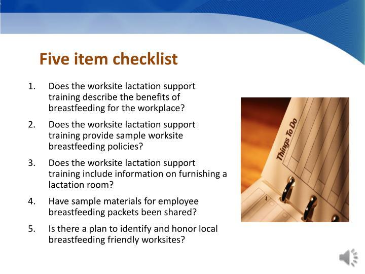 Five item checklist