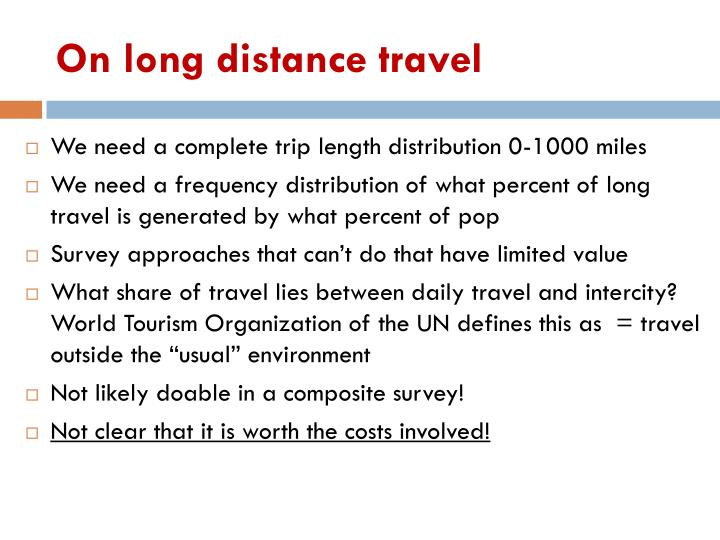 On long distance travel