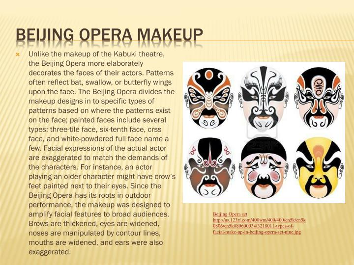 Unlike the makeup of the Kabuki theatre, the Beijing Opera more elaborately decorates the faces of their actors. Patterns often reflect bat, swallow, or butterfly wings upon the