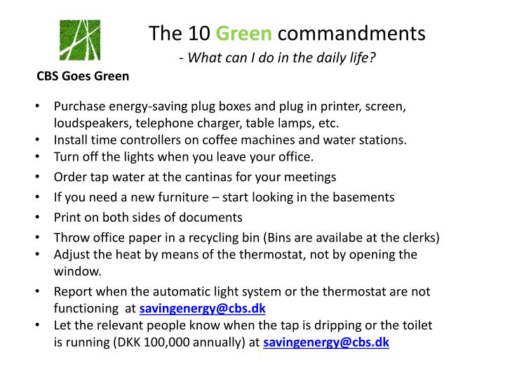 the 1 0 green commandments what can i do in the daily life n.