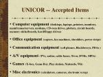 unicor accepted items