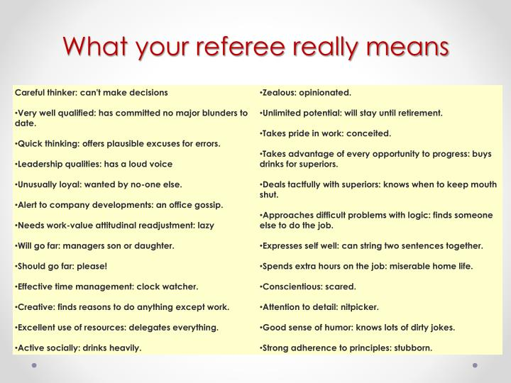 What your referee really means