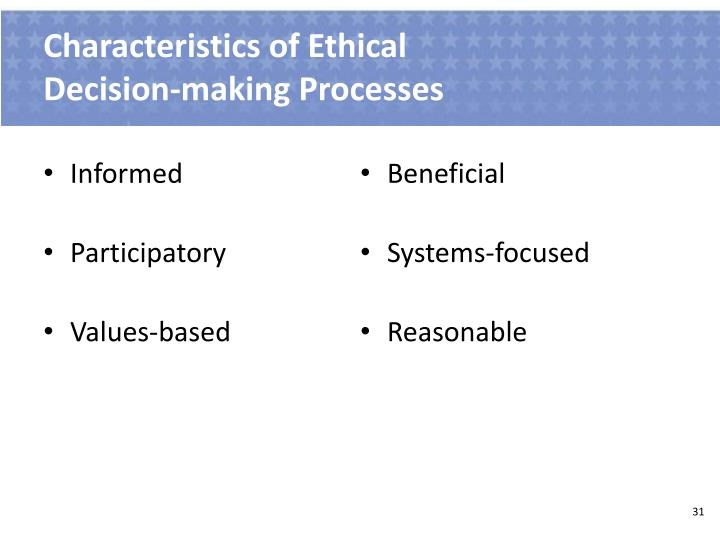 Characteristics of Ethical