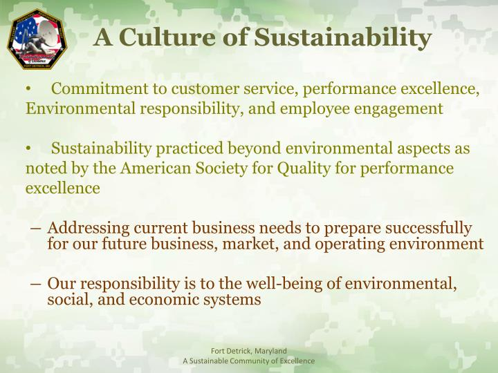 A Culture of Sustainability