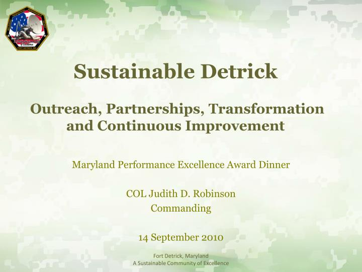 Sustainable detrick outreach partnerships transformation and continuous improvement