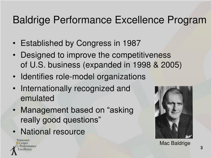 Baldrige performance excellence program