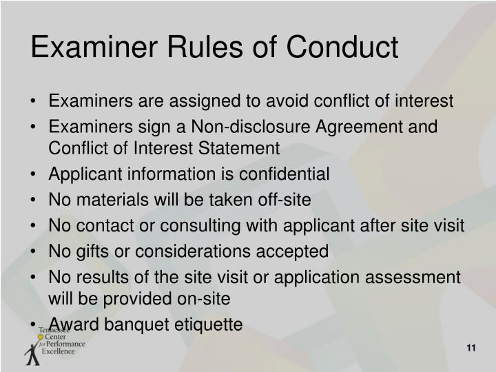 Examiner Rules of Conduct