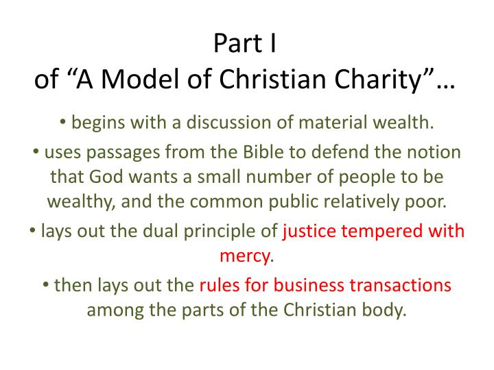 Part I Of A Model Christian Charity