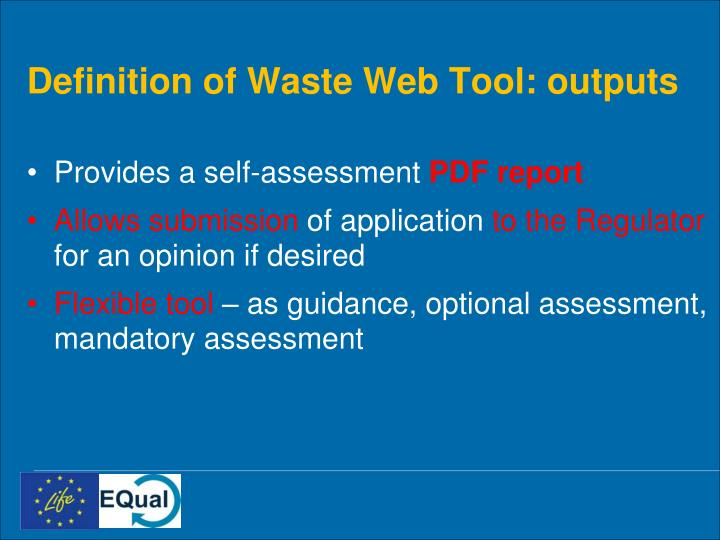 Definition of Waste Web Tool: outputs
