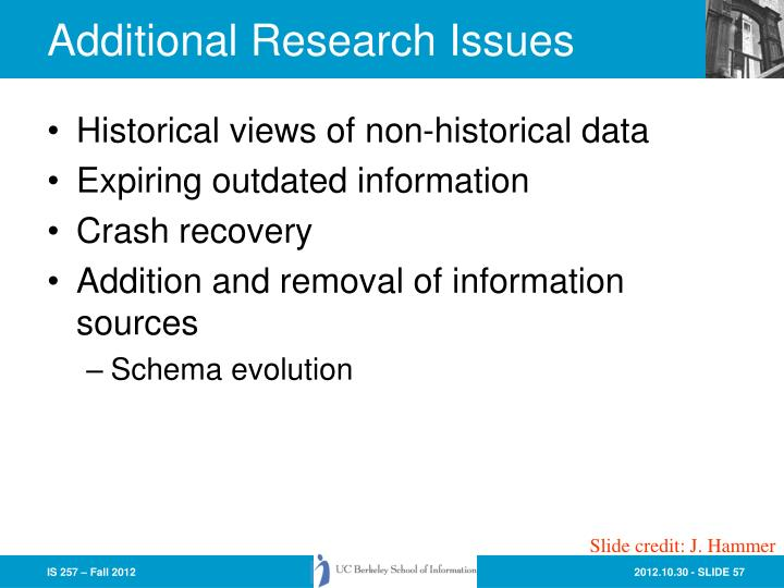 Additional Research Issues
