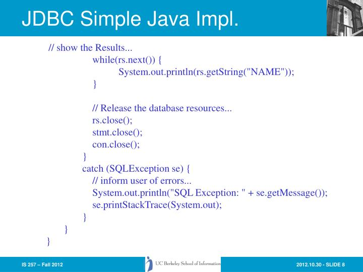 JDBC Simple Java Impl.