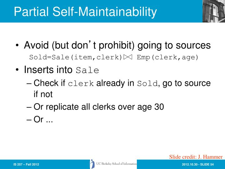 Partial Self-Maintainability