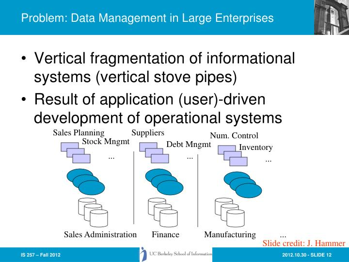 Problem: Data Management in Large Enterprises