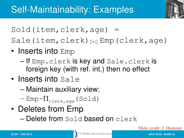 Self-Maintainability: Examples