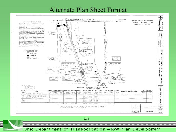 Alternate Plan Sheet Format