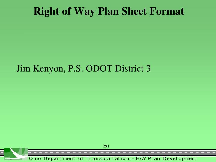 Right of Way Plan Sheet Format