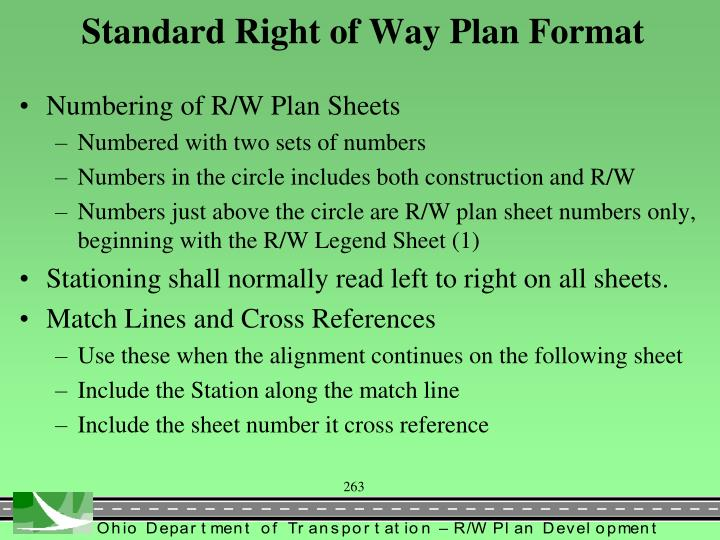 Standard Right of Way Plan Format