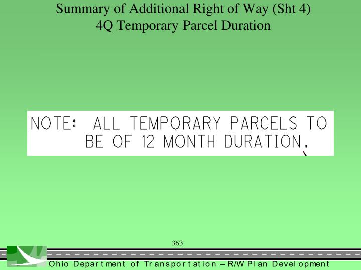 Summary of Additional Right of Way (Sht 4)