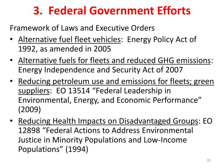 3.  Federal Government Efforts