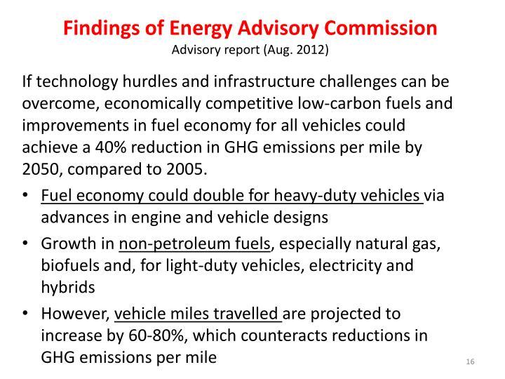 Findings of Energy Advisory Commission