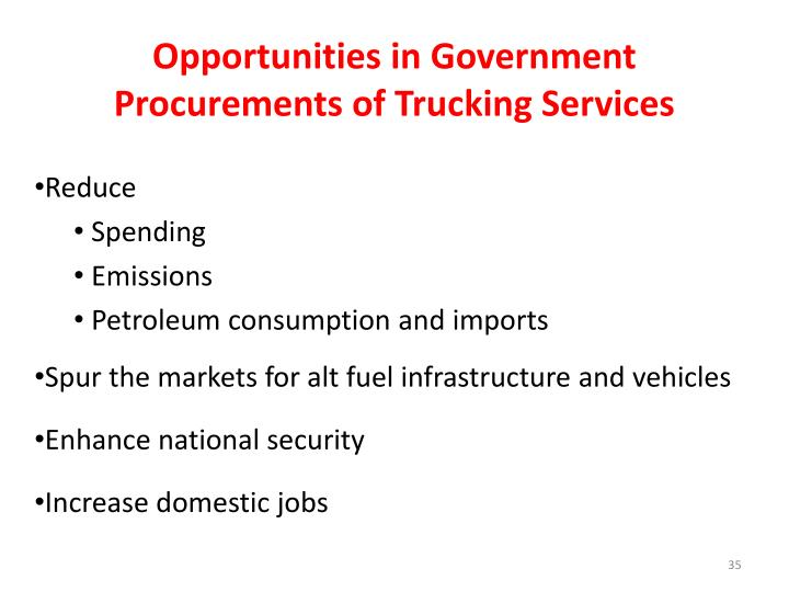 Opportunities in Government Procurements of Trucking Services
