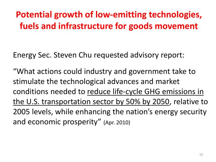 Potential growth of low-emitting technologies, fuels and infrastructure for goods movement